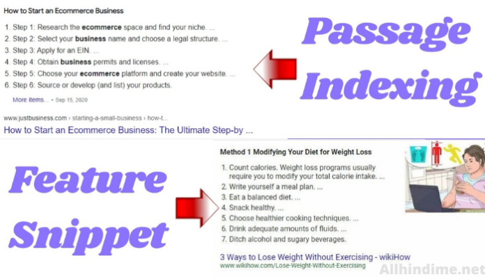 passage indexing क्या है और यह कैसे काम करता है तथा feature snippet और passage indexing में क्या अंतर है